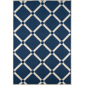 Baja Nautical Rope Navy Rectangular: 5 Ft. 3 In. x 7 Ft. 6 In. Rug