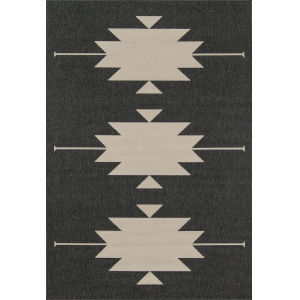 Baja Minimalist Aztec Charcoal Rectangular: 2 Ft. 3 In. x 4 Ft. 6 In. Rug