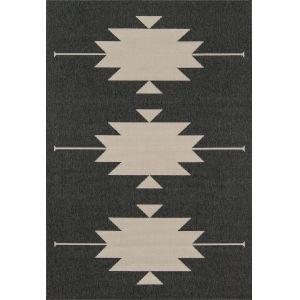 Baja Minimalist Aztec Charcoal Rectangular: 5 Ft. 3 In. x 7 Ft. 6 In. Rug