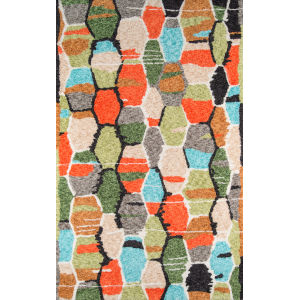 Bungalow Tiles Multicolor Rectangular: 7 Ft. 6 In. x 9 Ft. 6 In. Rug