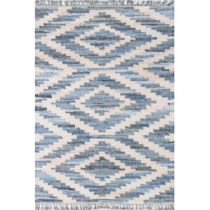 Tribal Blue Rectangular: 7 Ft. 6 In. x 9 Ft. 6 In. Rug