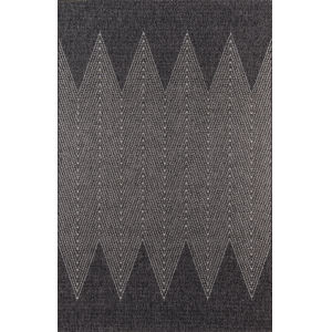 Como Geometric Zig Zag Charcoal Rectangular: 5 Ft. x 7 Ft. 6 In. Rug