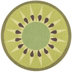 Cucina Kiwi Green Round: 3 Ft. x 3 Ft. Round Rug