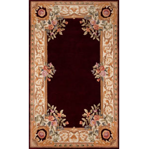 Harmony Floral Burgundy Rectangular: 3 Ft. 6 In. x 5 Ft. 6 In. Rug
