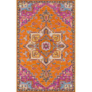 Ibiza Medallion Orange Rectangular: 8 Ft. x 10 Ft. Rug