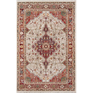 Lenox Medallion Red Rectangular: 3 Ft. 3 In. x 5 Ft. 3 In. Rug