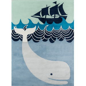 Lil Mo Whimsy Multi Blue Rectangular: 4 Ft. x 6 Ft. Rug