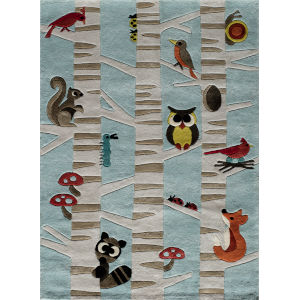 Lil Mo Whimsy Woodland Creatures Light Blue Rectangular: 5 Ft. x 7 Ft. Rug