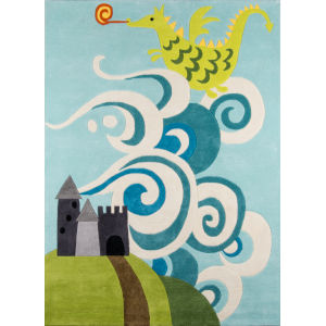 Lil Mo Whimsy Fairytale Dragon Sky Rectangular: 5 Ft. x 7 Ft. Rug