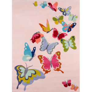 Lil Mo Whimsy Butterfly Flutter Pink Rectangular: 3 Ft. x 5 Ft. Rug