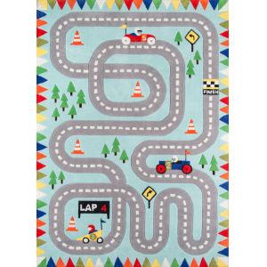 Lil Mo Whimsy Racetrack Light Blue Rectangular: 4 Ft. x 6 Ft. Rug