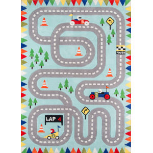 Lil Mo Whimsy Racetrack Light Blue Round: 5 Ft. x 5 Ft. Round Rug