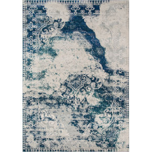 Loft Abstract Blue Rectangular: 5 Ft. 3 In. x 7 Ft. 6 In. Rug