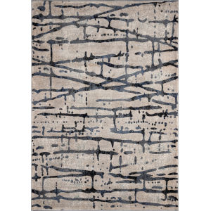 Logan Abstract Gray Rectangular: 3 Ft. 11 In. x 5 Ft. 7 In. Rug
