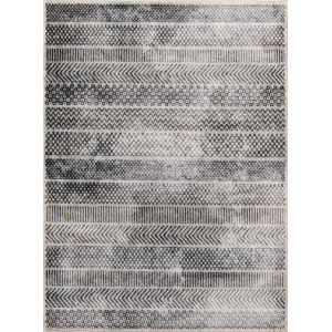 Logan Geometric Gray Rectangular: 5 Ft. 3 In. x 7 Ft. 6 In. Rug