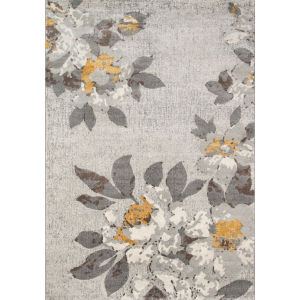 Luxe Gray Floral Rectangular: 5 Ft. 3 In. x 7 Ft. 6 In. Rug