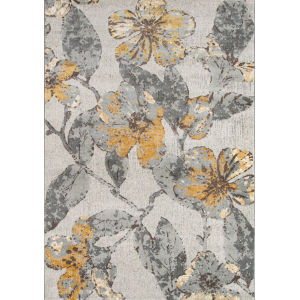 Luxe Floral Gray Rectangular: 5 Ft. 3 In. x 7 Ft. 6 In. Rug