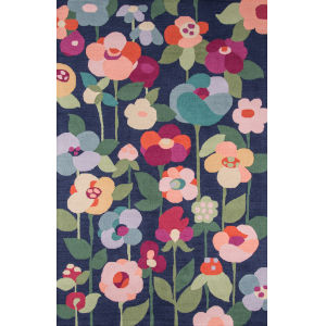 Newport Floral Navy Rectangular: 9 Ft. x 12 Ft. Rug