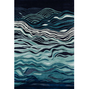 New Wave Abstract Navy Runner: 2 Ft. 6 In. x 12 Ft.