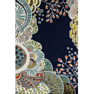New Wave Floral Navy Rectangular: 3 Ft. 6 In. x 5 Ft. 6 In. Rug