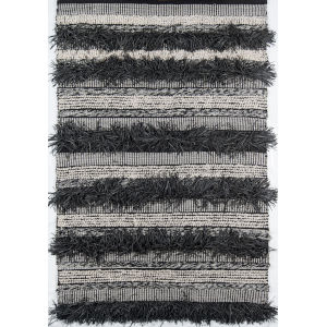 Otto Striped Black Rectangular: 7 Ft. 9 In. x 9 Ft. 9 In. Rug