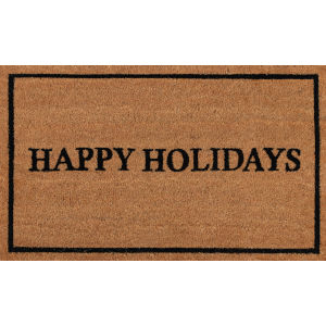 Park Holiday Greeting Black Rectangular: 1 Ft. 8 In. x 2 Ft. 9 In. Rug