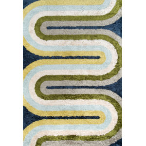 Retro Green Blue Rectangular: 7 Ft. 6 In. x 9 Ft. 6 In. Rug