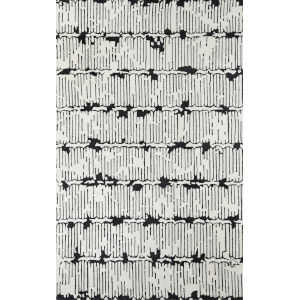 Smith Abstract Black Rectangular: 3 Ft. 6 In. x 5 Ft. 6 In. Rug