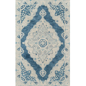 Tangier Medallion Blue Rectangular: 3 Ft. 6 In. x 5 Ft. 6 In. Rug
