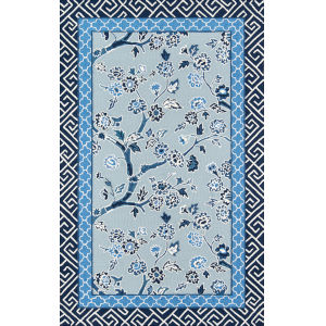 Under A Loggia Blossom Dearie Blue Rectangular: 3 Ft. 9 In. x 5 Ft. 9 In. Rug