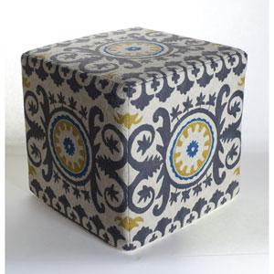 Chainstitch Blue 18-Inch Ottoman
