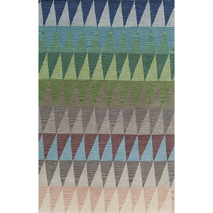 Delhi Multicolor Blue Rectangular: 8 Ft x 10 Ft Rug