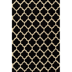 Geo 4 Black Rectangular: 5 ft. x 7 ft. Rug