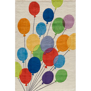 Lil Mo Whimsy 16 Balloons Multi-Color Rectangular: 5 ft. x 7 ft. Rug
