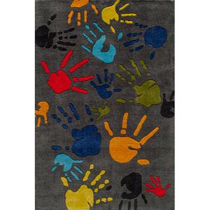 Lil Mo Whimsy 17 Finger Paint Grey Rectangular: 5 ft. x 7 ft. Rug