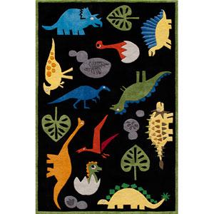 Lil Mo Whimsy 18 Dinosaur Black Rectangular: 5 ft. x 7 ft. Rug