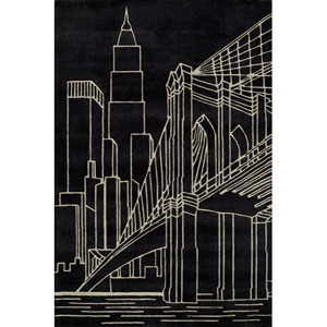 Lil Mo Hipster 10 Brooklyn Bridge Black Rectangular: 5 ft. x 7 ft. Rug