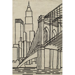 Lil Mo Hipster 10 Brooklyn Bridge Ivory Rectangular: 5 ft. x 7 ft. Rug