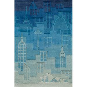 Lil Mo Hipster 11 Urban Landscape Blue Rectangular: 5 ft. x 7 ft. Rug