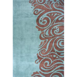 New Wave 88 Turquoise Rectangular: 5 ft. 3 in. x 8 ft. Rug