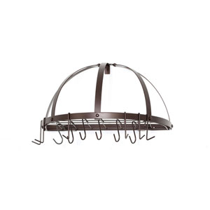 Oiled Bronze Medium Gauge Half-Round Pot Rack with Grid and 12 Hooks