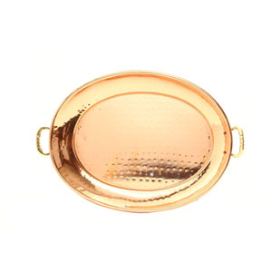 Copper 9-Inch Oval Tray with Cast Brass Handles