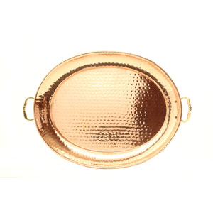 Copper 11-Inch Oval Tray with Cast Brass Handles