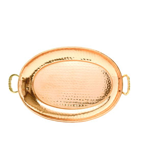 Copper 13-Inch Oval Tray with Cast Brass Handles
