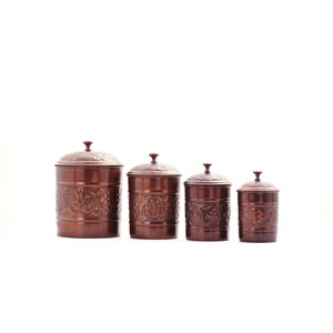 Antique Copper Embossed Heritage Canister, Set of Four