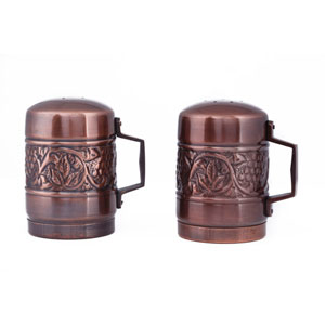 Antique Copper Embossed Heritage Stovetop Salt and Pepper Set