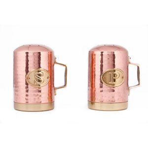 Copper Hammered Stovetop Salt and Pepper Set