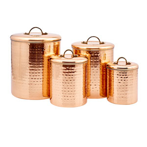 Copper Hammered Canister, Set of Four