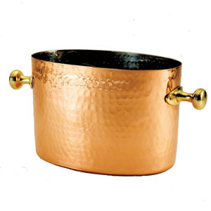 Copper Double Champagne and Wine Chiller with Aluminum Insert