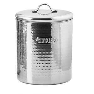 Stainless Steel Hammered Cookie Jar with Fresh Seal® Cover